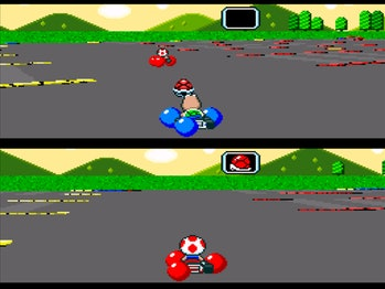 Super Mario Kart's Battle mode, with Koopa Troopa on top and Toad on bottom.