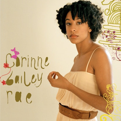 The album cover for Corrine Bailey Rae's debut self-titled. It's a photography of Corrine Bailey Rae standing in a white tank top, with her name written in swirls.