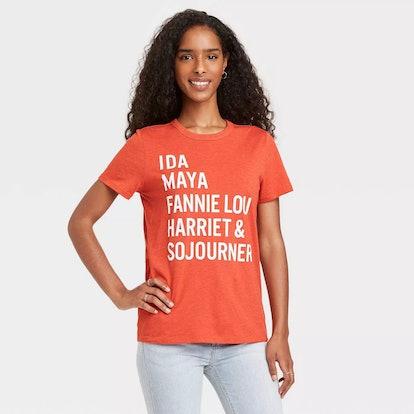Black History Month Women's Names Short Sleeve Graphic T-Shirt