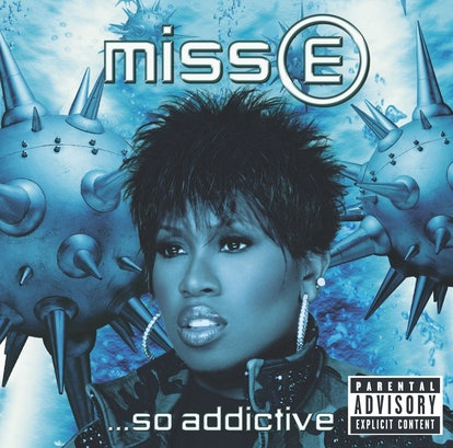 The album cover of Missy Elliot's 'Miss E... So Addictive'. It shows Elliot shoulders up, in blue lighting.