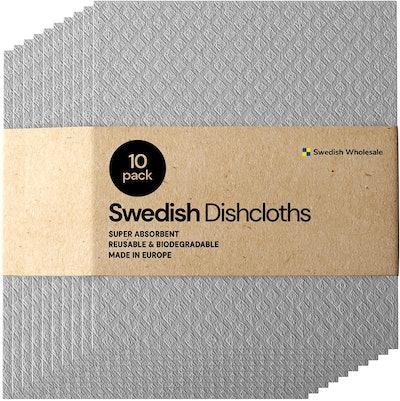 Swedish Eco-Friendly Dishcloth Cellulose Sponge Cloths - Bulk 10 Pack