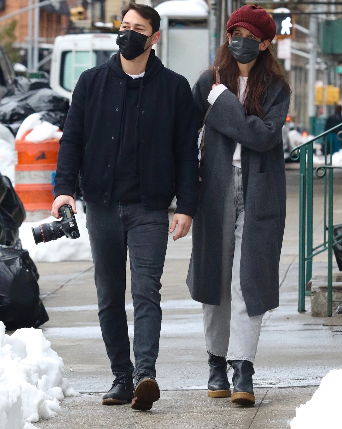 Katie Holmes and Emilio Vitolo Jr. are seen on a walk as Katie takes photos on February 3, 2021 in N...