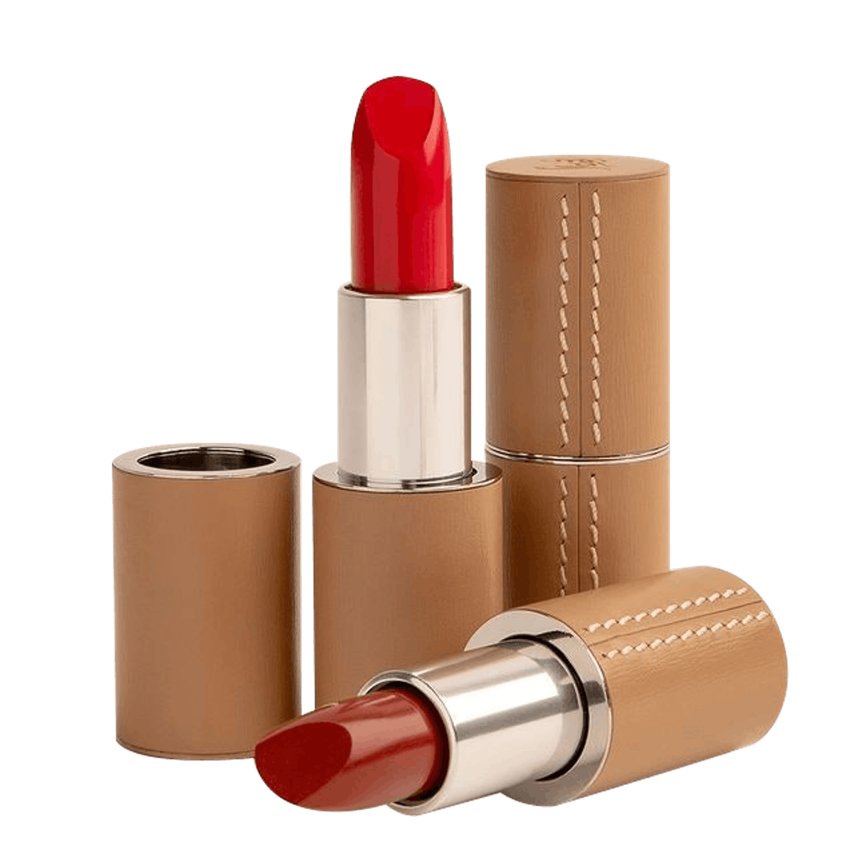 Refillable Pop Art Red Lipstick In Fine Camel Leather Case