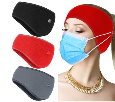 Geyoga Headwarmer with Buttons for Face Mask (3-Pack)