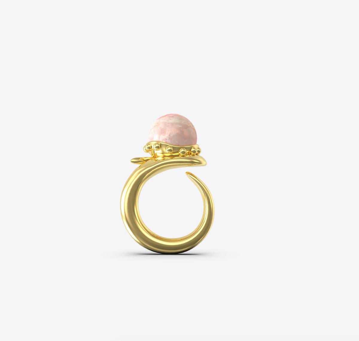 Orb Ring With Rose Quartz