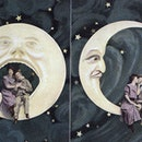 """Vintage hand-painted postcard, """"Spooning the Moon"""", 1907"""