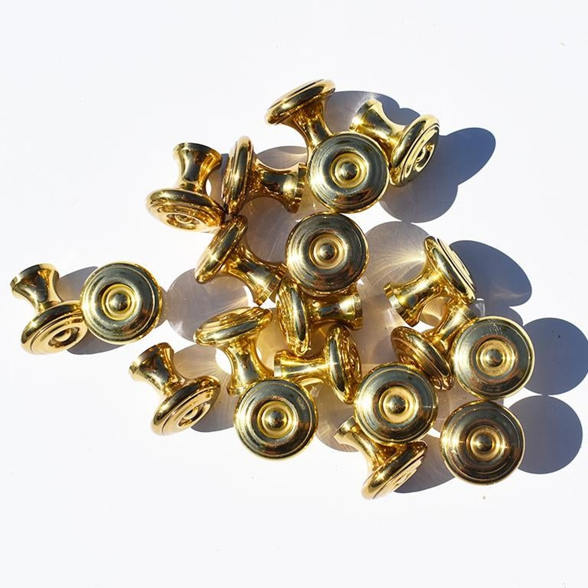 1970's Vintage Sherle Wagner Small Round Gold Drawer Pulls