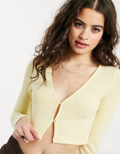 Bershka cropped cardigan in yellow