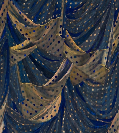 Nero Dot Blue and Gold Wallpaper - Sample