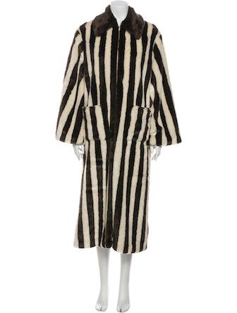 STAUD Striped Faux Fur Coat