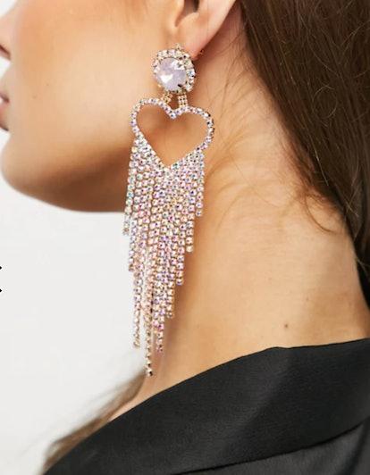 House of Pascal Open Heart Rhinestone Drop Earrings