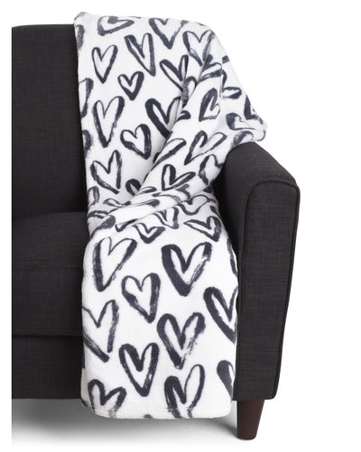 Samantha Hearts Printed Loft Fleece Decorative Throw