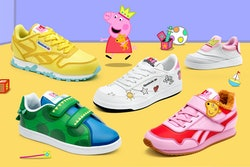 Five pairs of kids sneakers featuring Peppa Pig; siting on yellow and purple backdrop with Peppa cartoon characters around
