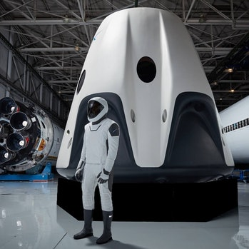 SpaceX Inspiration4 Super bowl ad clip of man in front of spacecraft