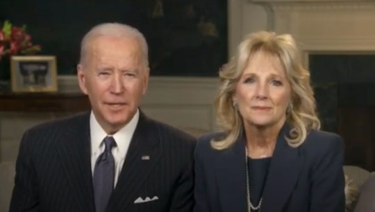 """Jill Biden wore her """"Mama"""" necklace in the Super Bowl address, too."""