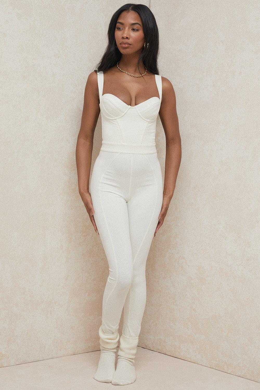 Mallen Whisper White Stretch Jersey Jumpsuit
