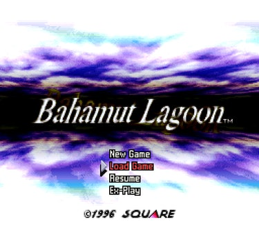 The title screen of 'Bahamut Lagoon'