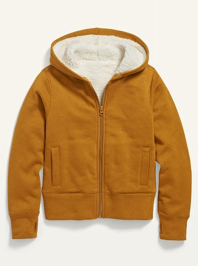 Cozy Sherpa-Lined Zip Hoodie for Girls