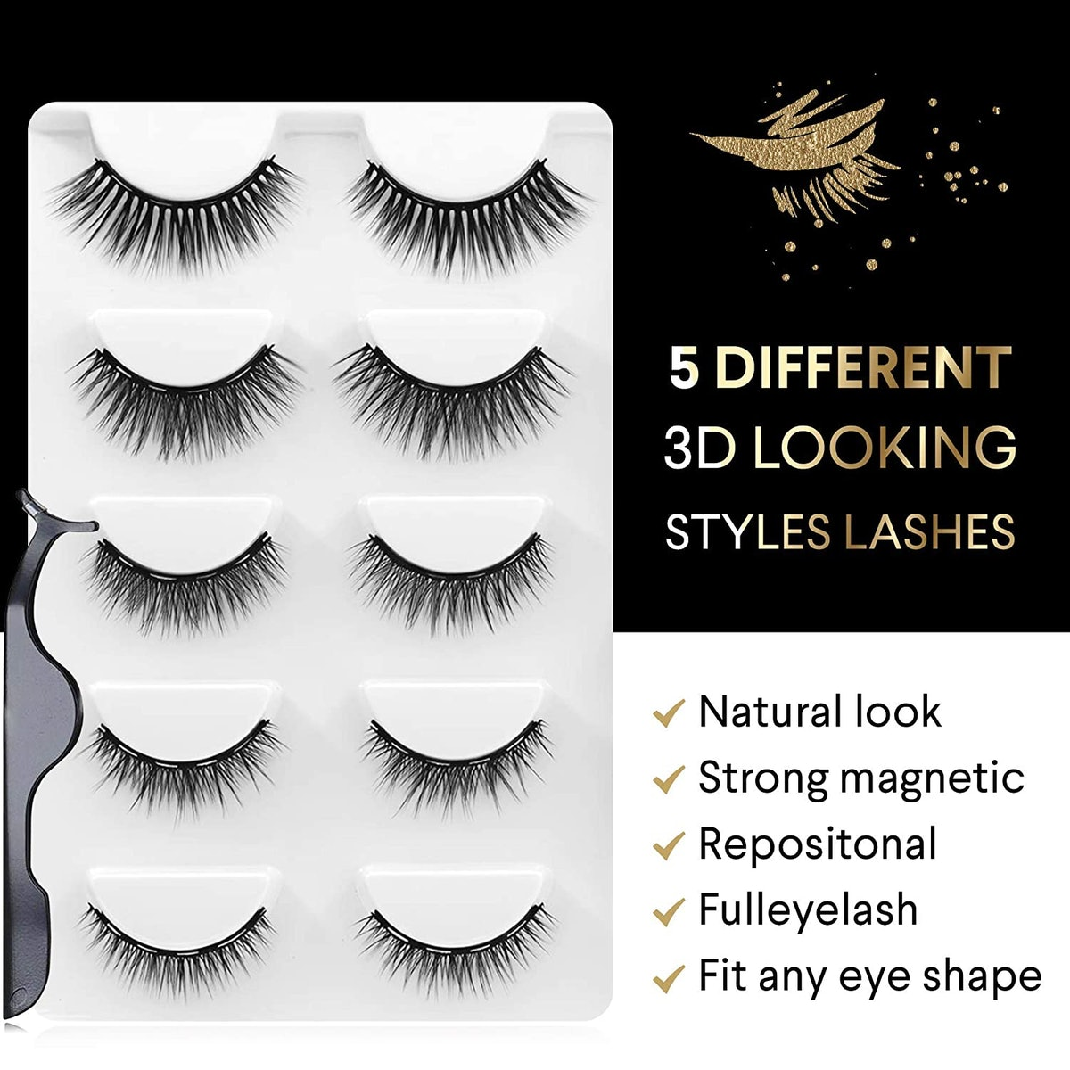 easbeauty Magnetic Eyeliner and Lashes Kit (5 Pairs)