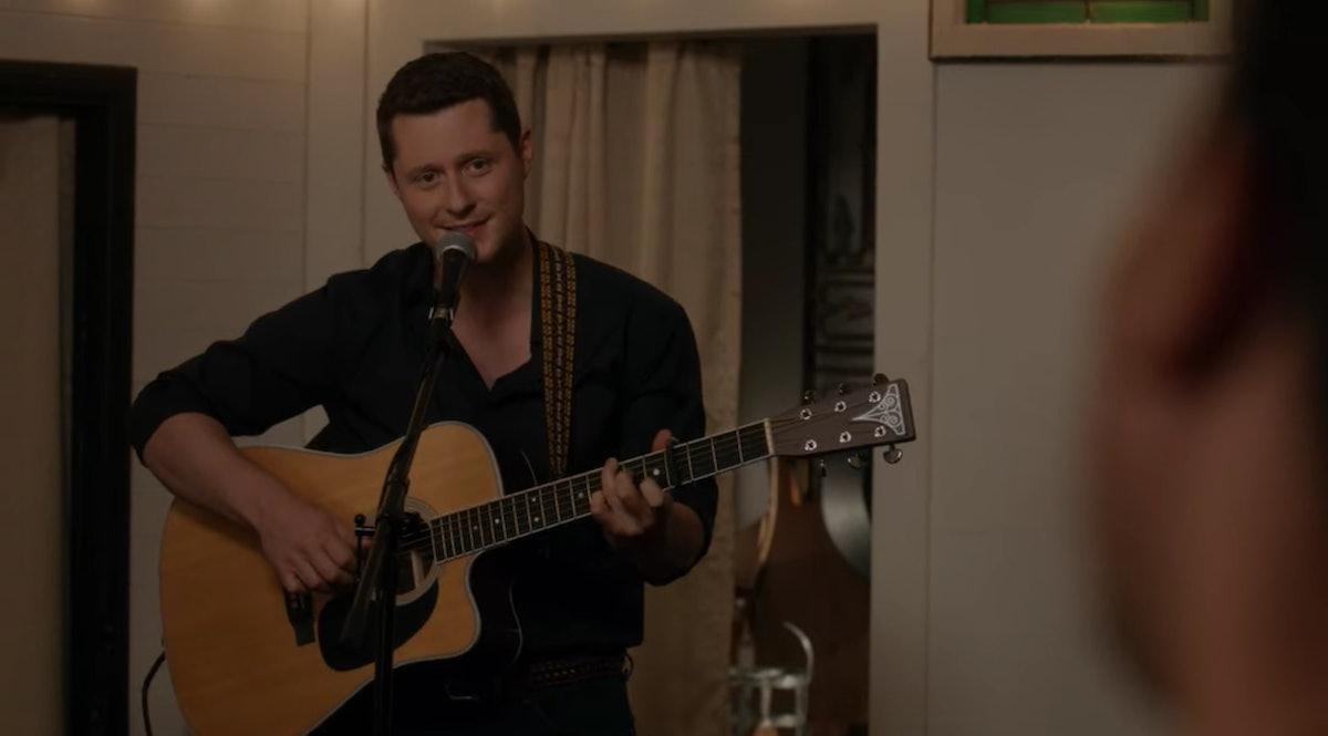 "Patrick sings Tina Turner's ""The Best"" to David Rose in 'Schitt's Creek.'"