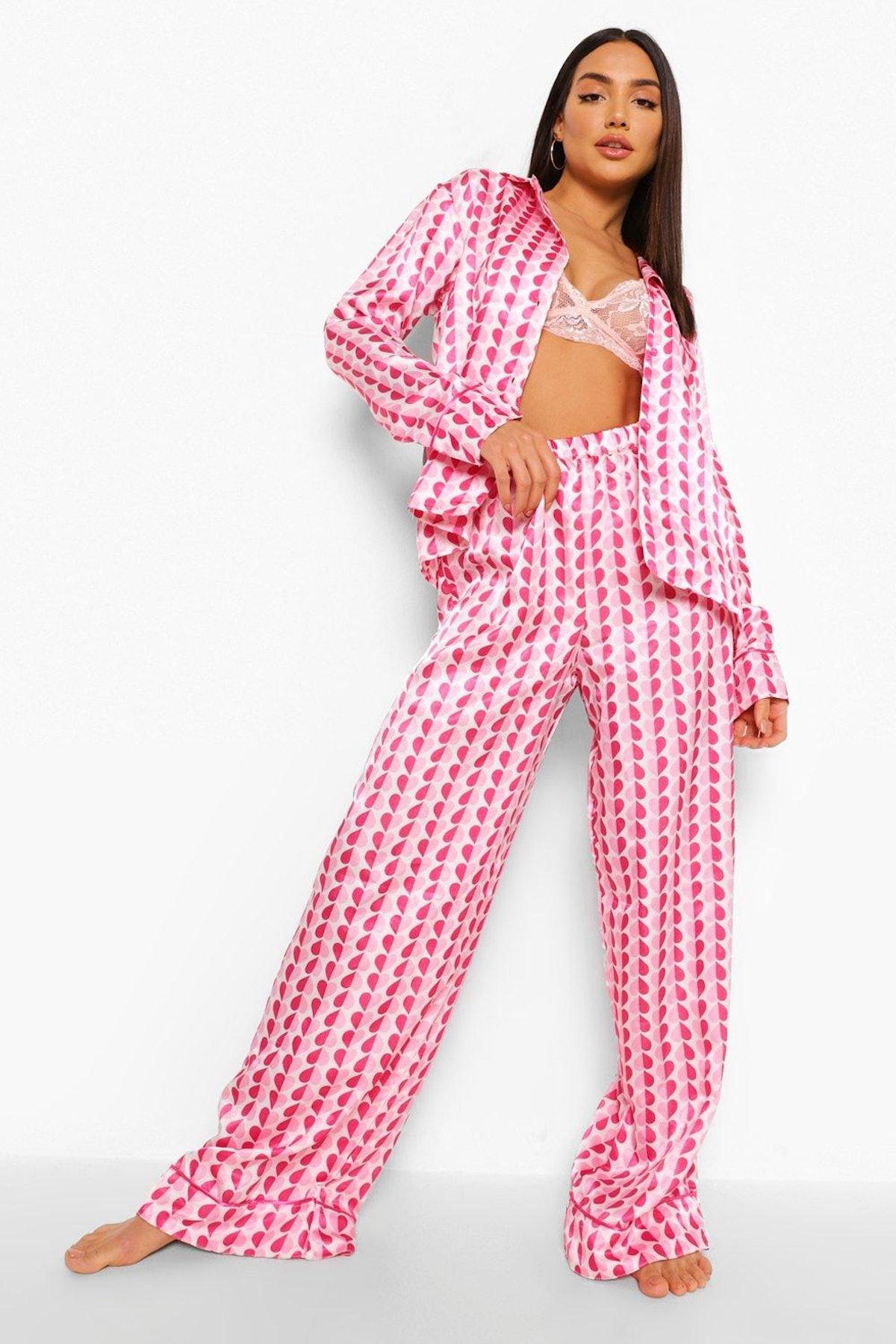 Boohoo Valentines Heart Satin Pyjamas