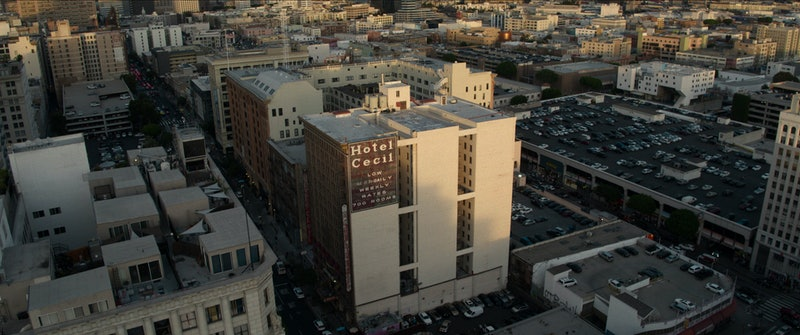An aerial view of the Cecil Hotel via Netflix's press site