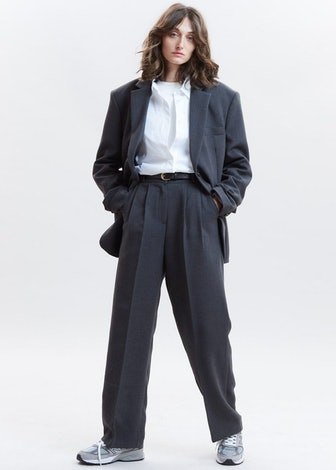 Stretch Waist Belted Suit Pants In Dark Grey Melange