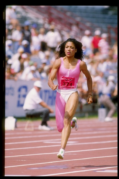 Florence Griffith-Joyner runs down the track during the Olympic Trials on Jul 22, 1988.