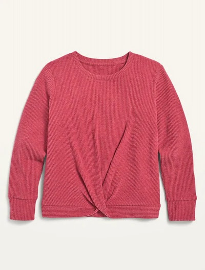 Cozy Twist-Front Rib-Knit Top for Girls in Thimble Berry