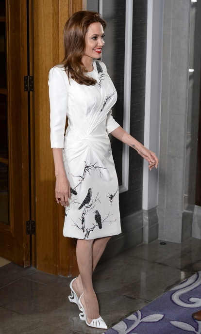"Angelina Jolie attends a photocall for ""Maleficent"" held at the Corinthia Hotel, London on May 9, 2014 in London, England."