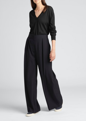 The Row Trevor Wide-Leg Pleated Wool Pants