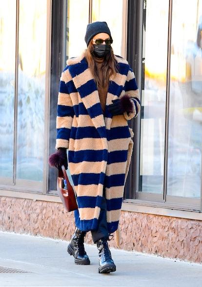 Model Irina Shayk is seen walking in SoHo on February 8, 2021 in New York City.