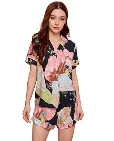 Floerns Leaf Print Sleepwear