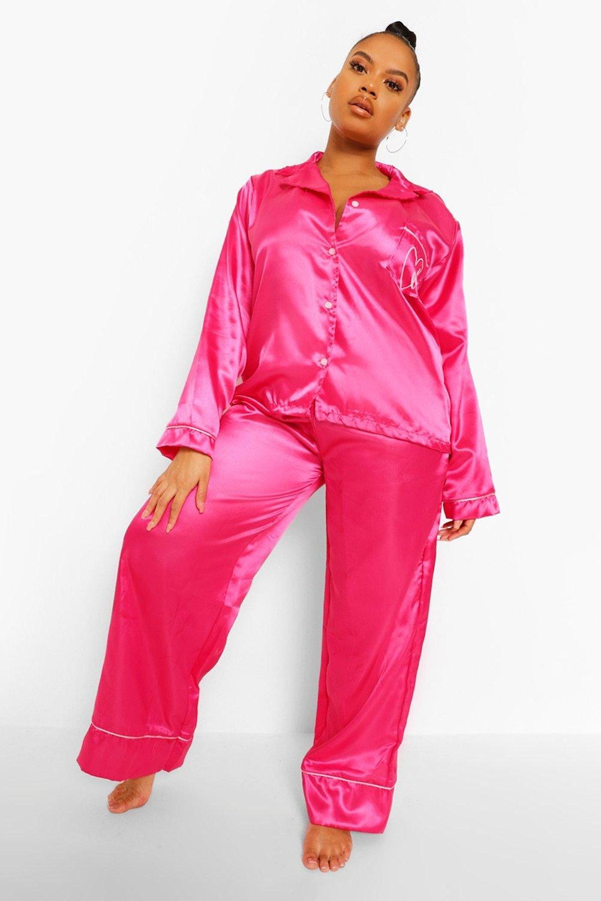 Boohoo Plus Love Embroidered Satin Pyjamas