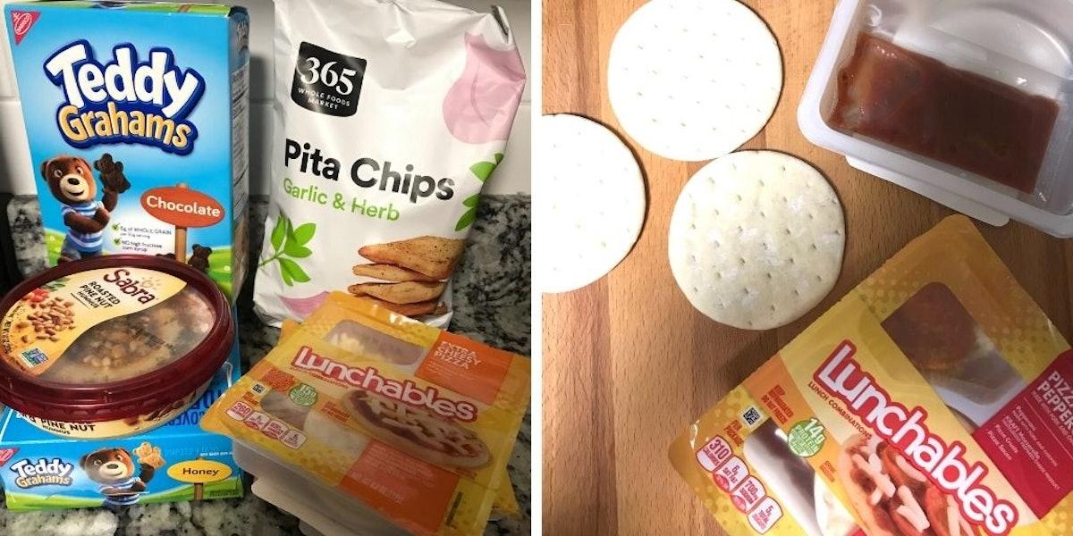 Hummus, Teddy Grahams, pita chips, and Lunchables
