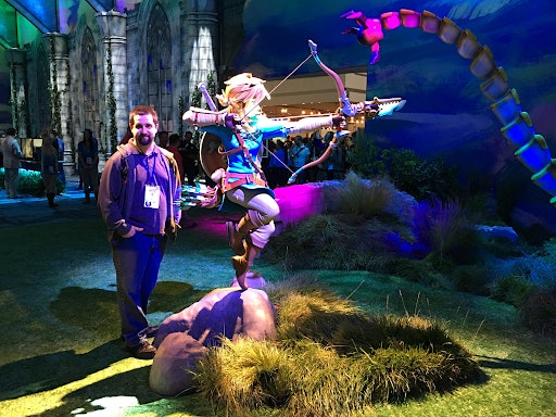 Stephen Mortimer with Link from 'Breath of the Wild' at E3 2016.