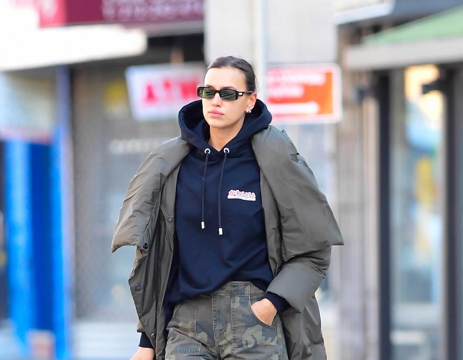 Model Irina Shayk is seen walking in SoHo on November 18, 2020 in New York City.
