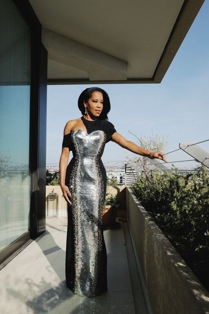 Regina King in custom Louis Vuitton at the 2021 Golden Globes.