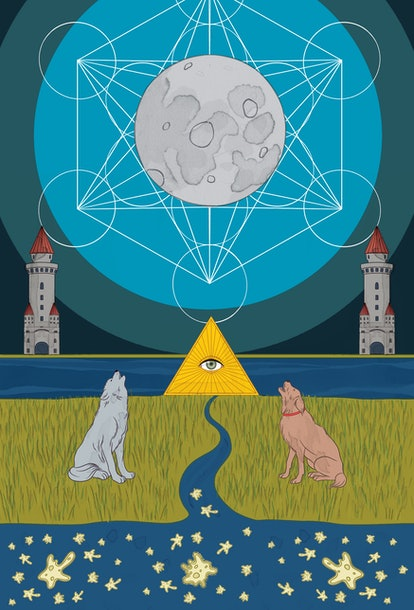 The Moon tarot card corresponds with mutable water zodiac sign Pisces.