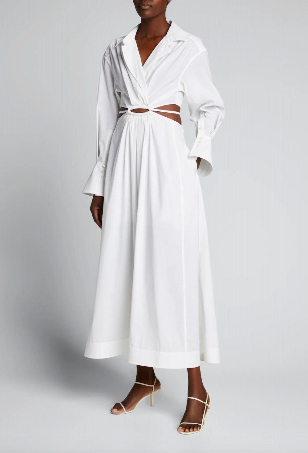 Alex Pleated Poplin Cutout Maxi Dress