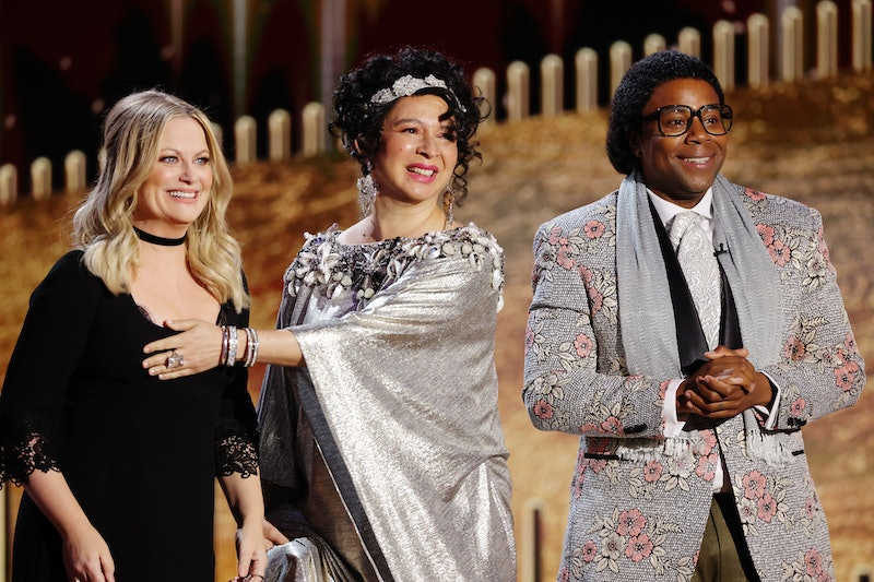 Amy Poehler, Maya Rudolph and Kenan Thompson appear together during a Golden Globes skit. Photo via NBC