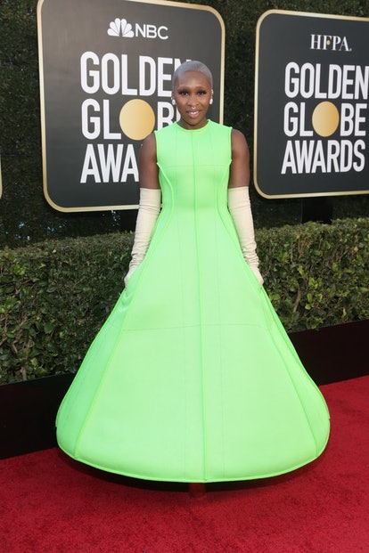 Cynthia Erivo in Valentino for the 2021 Golden Globes.