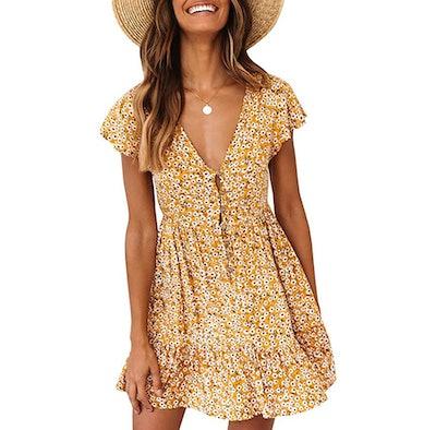 Valphsio Floral V-Neck Dress