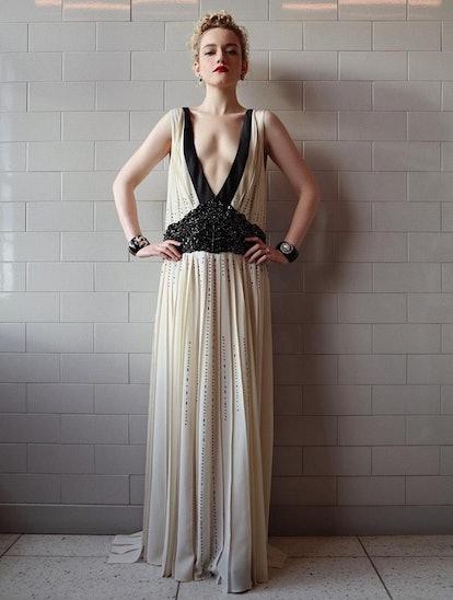 Julia Garner's Prada dress had sheer touches and a plunging neckline.
