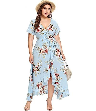 Milumia Plus Size Empire Waist Asymmetrical Dres