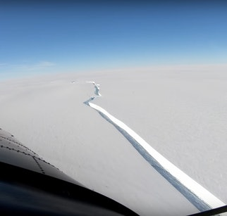 A large crack in the Brunt Ice Shelf, as seen from an airplane.