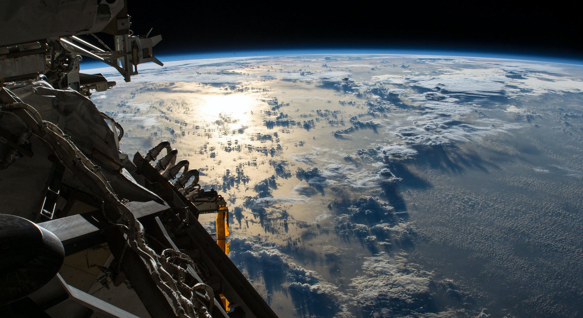 view of earth from international space station in orbit