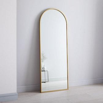 "Metal Frame Arched 74"" Floor Mirror"
