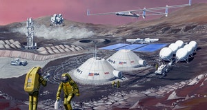 nasa martian habitat illustration domes and astronauts on martian landscape