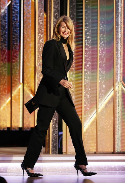 Laura Dern's side part also featured bangs.